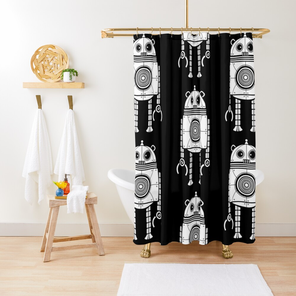 Big Robot 1.0 Shower Curtain
