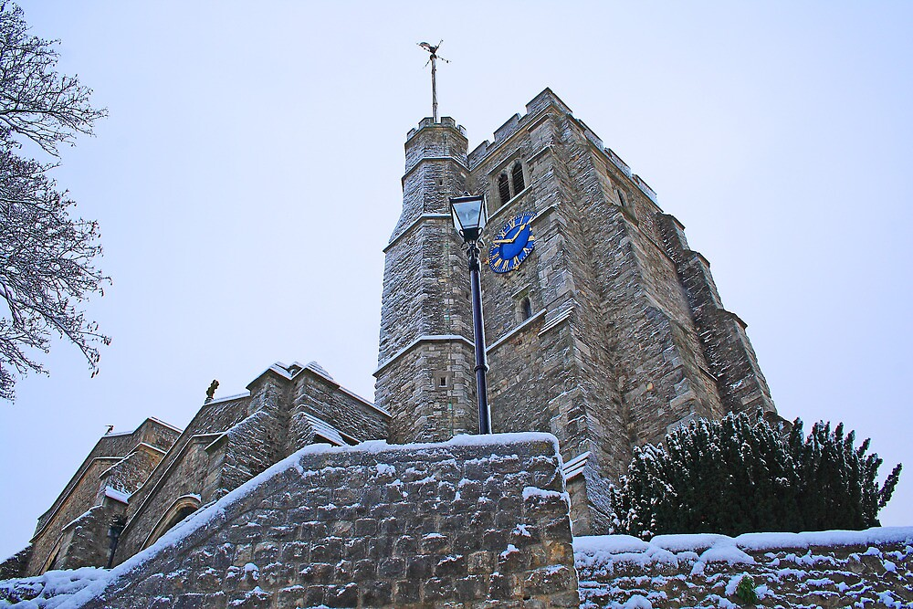All Saints Tower In The Snow by Dave Godden
