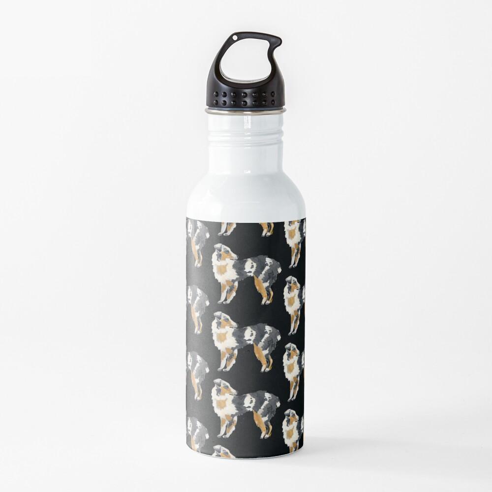Australian Shepherd Illustration Water Bottle