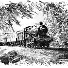 Steam Train in Green - Black And White Sketch Edition by modelrailway