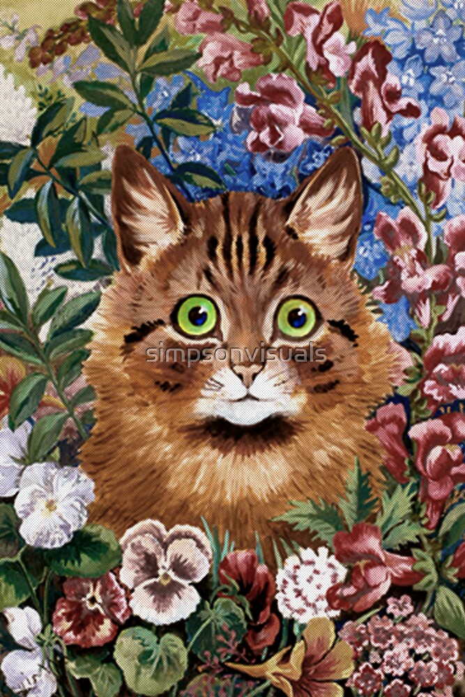 Brown Cat in The Garden by Louis Wain by simpsonvisuals