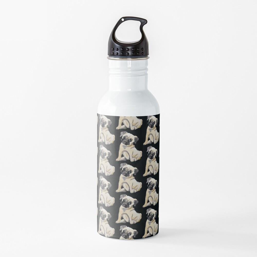 Pug Dog Illustration Water Bottle