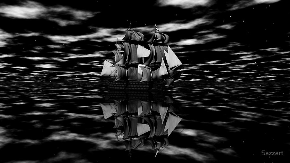 Sailing into the Mists of History B&W by Sazzart