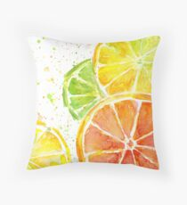 Juicy Citrus Fruit Watercolor, Food Painting, Tasty Art Throw Pillow