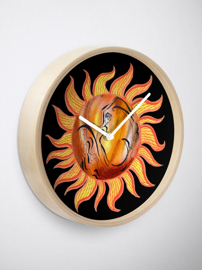 Alternate view of Solar Flamenco Dance Sun Watercolor Painting  Clock