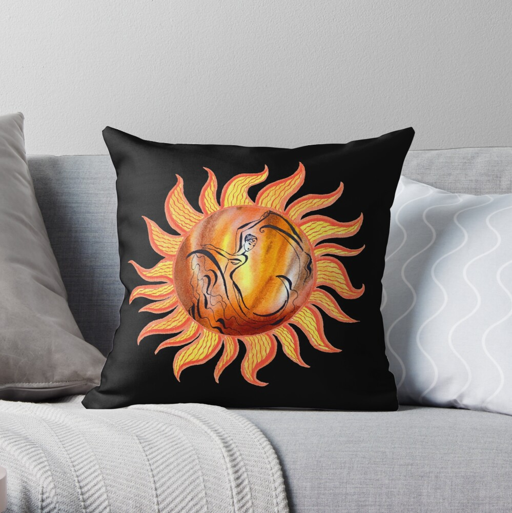 Solar Flamenco Dance Sun Watercolor Painting  Throw Pillow
