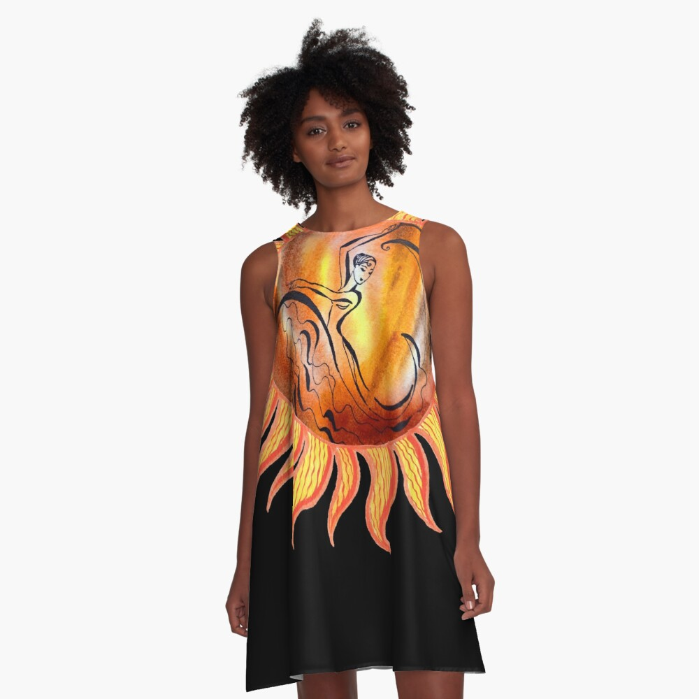 Solar Flamenco Dance Sun Watercolor Painting  A-Line Dress