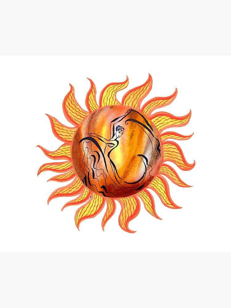 Solar Flamenco Dance Sun Watercolor Painting  by IrinaSztukowski