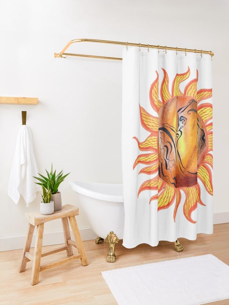 Alternate view of Solar Flamenco Dance Sun Watercolor Painting  Shower Curtain