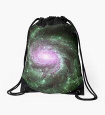 Pinwheel Galaxy [Green Pink] Drawstring Bag