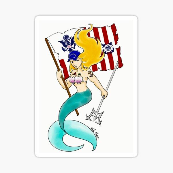 Coast Guard Mermaid Sticker