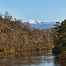 Huon River View of Hartz Mountain by jayneeldred