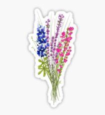 subtle bi pride flowers Sticker