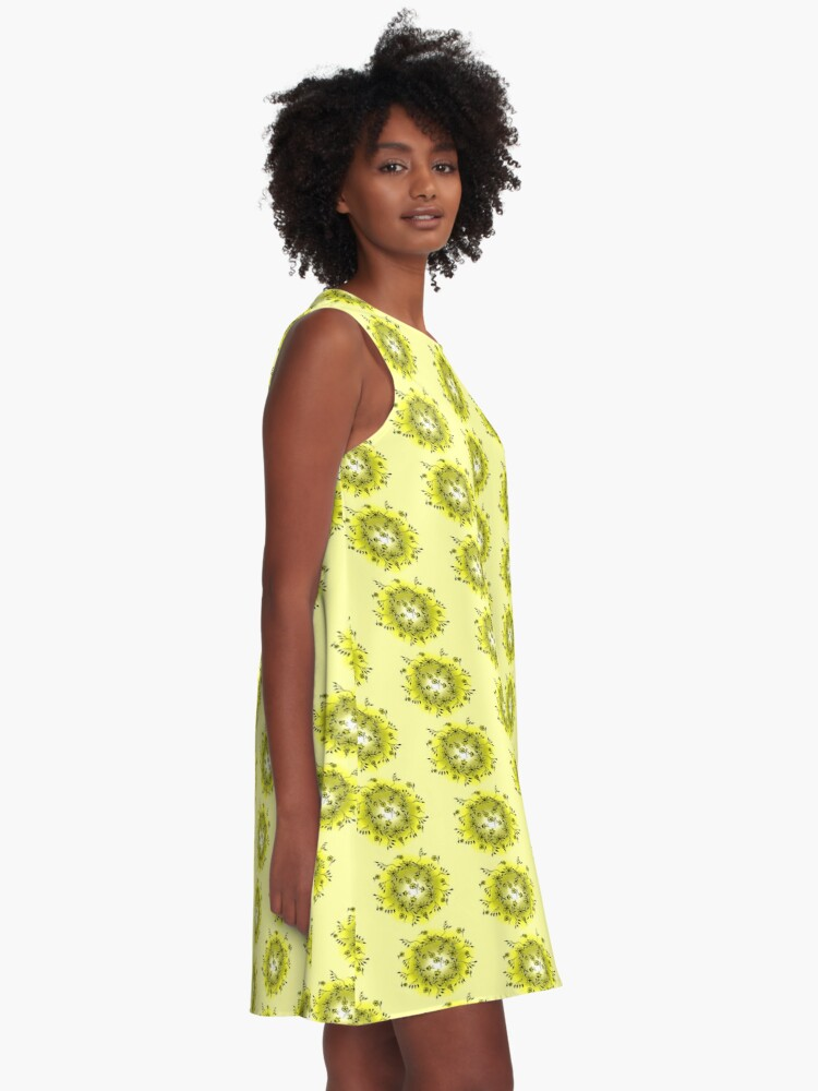 Alternate view of Flower Swirl - Yellow A-Line Dress