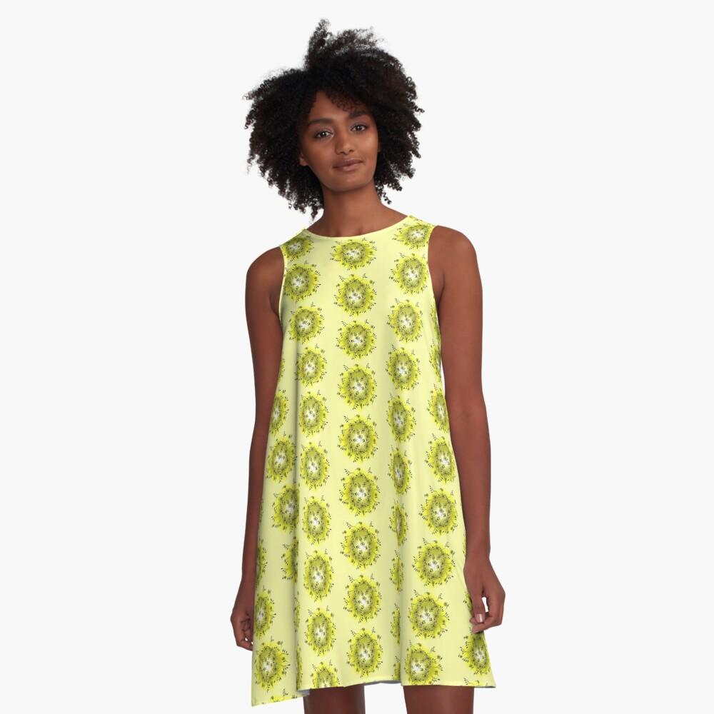 Flower Swirl - Yellow A-Line Dress