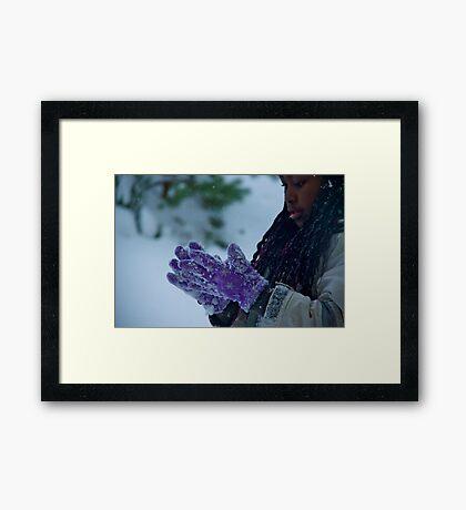 The purple gloves Framed Print