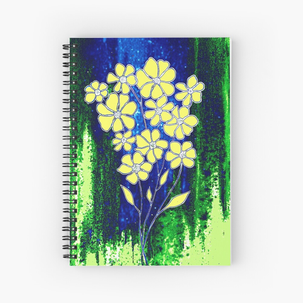 Flowers in Yellow Spiral Notebook