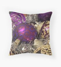 Purple Christmas Baubles Throw Pillow