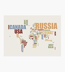 World Map in Words 2 Photographic Print