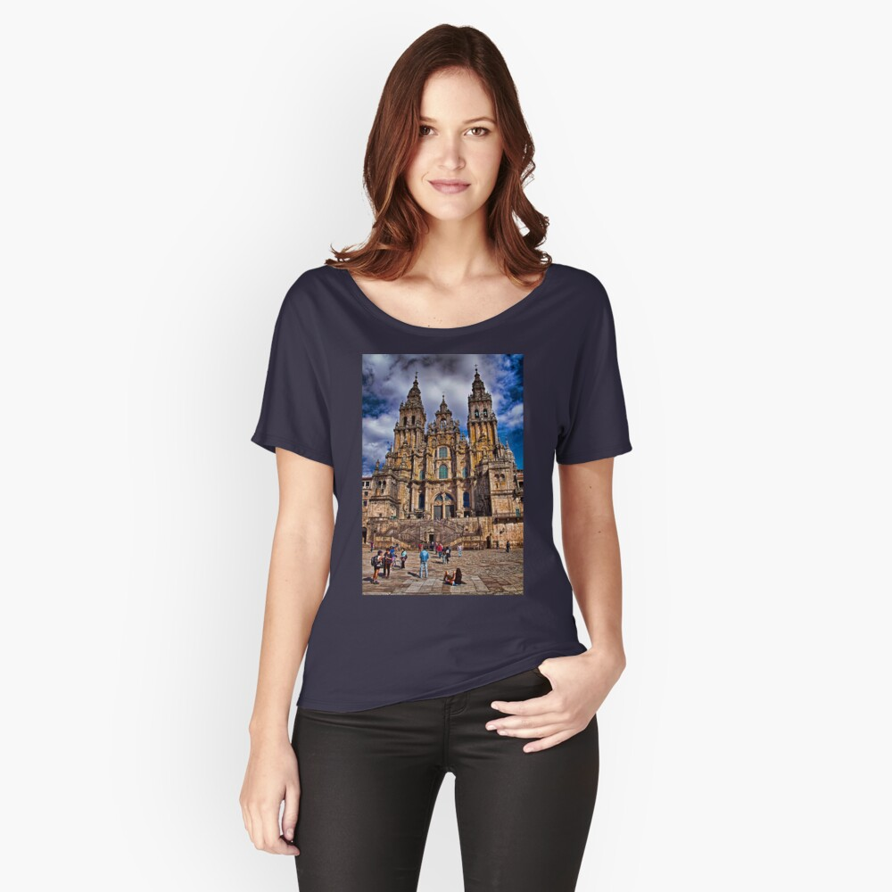 Spain. Santiago de Compostela. Catherdral in the afternoon. Women's Relaxed Fit T-Shirt Front