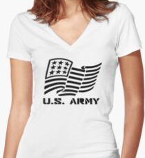 U.S. ARMY MILITARY AMERICAN FLAG SOLDIER Women's Fitted V-Neck T-Shirt