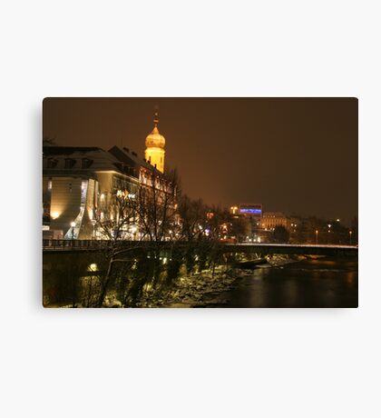 City skyline of Graz in Winter at the River Mur Canvas Print