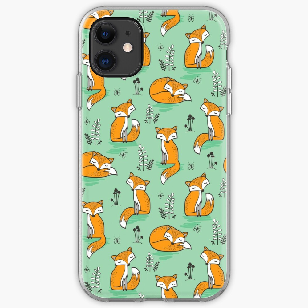 Dreamy Fox in Green iPhone Case & Cover