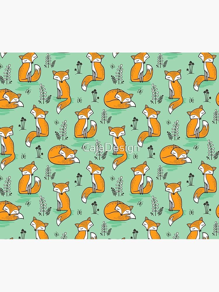 Dreamy Fox in Green by CajaDesign