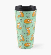 Dreamy Fox in Green Travel Mug