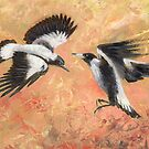 Squabbling Magpies oil painting _ art print version by EnPassant