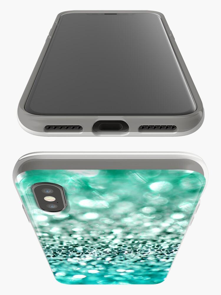 Vista alternativa de Funda y vinilo para iPhone Aqua Glitter