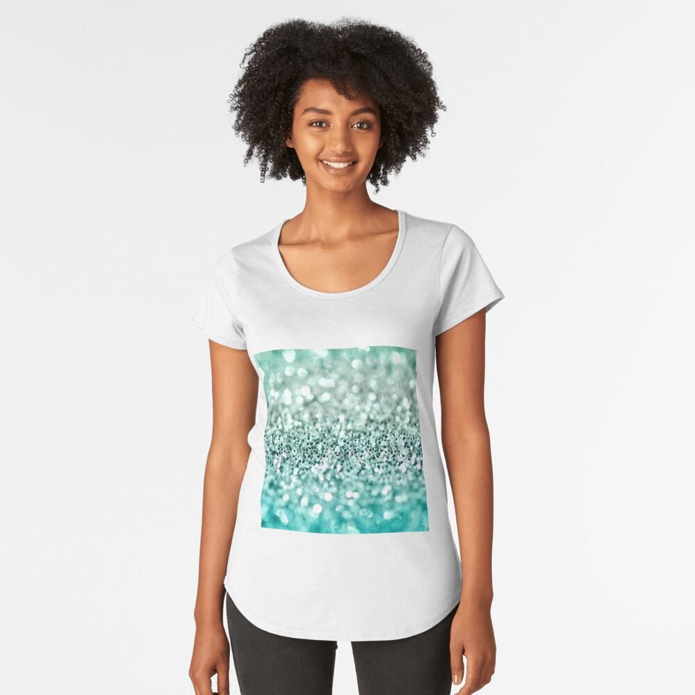 Aqua Glitter Camiseta premium de cuello ancho