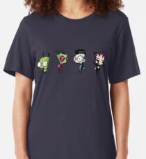 8-Bit Invader Zim Characters Slim Fit T-Shirt