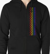 Vertical Band of Pride Triangles Zipped Hoodie