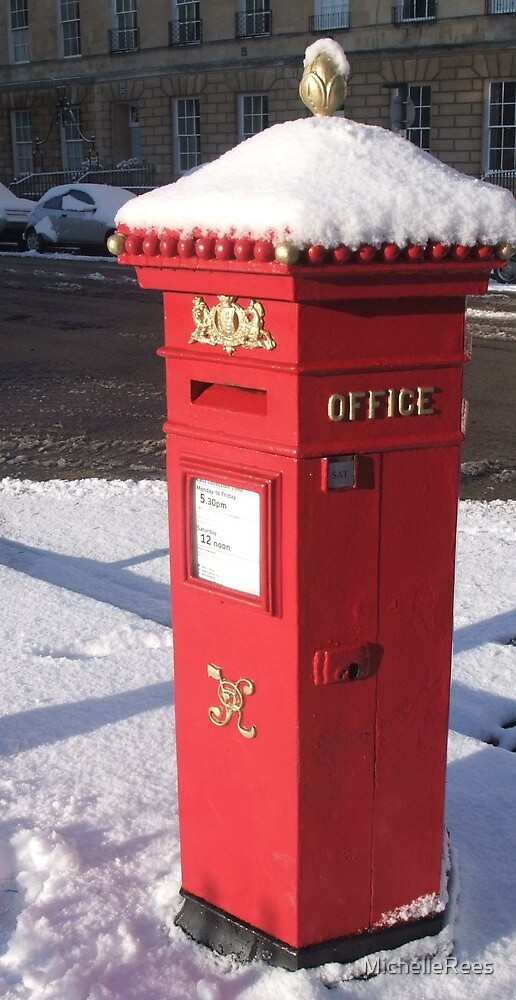 Red Pillar Box like a beacon in the snow by MichelleRees