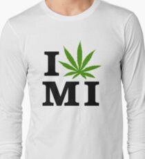 I Love Michigan Marijuana Cannabis Weed Long Sleeve T-Shirt