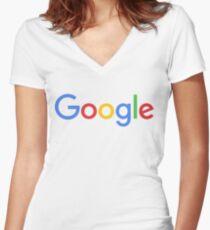 New Google Logo Women's Fitted V-Neck T-Shirt