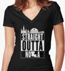 Straight Outta NOLA Women's Fitted V-Neck T-Shirt