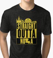 Straight Outta NOLA (Black and Gold) Tri-blend T-Shirt