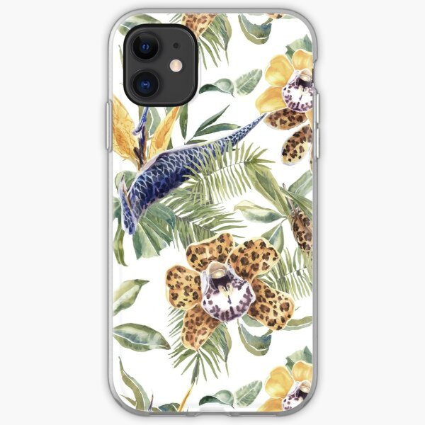 Jungle Animal Print Orchids iPhone Soft Case