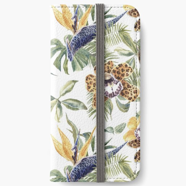 Jungle Animal Print Orchids iPhone Wallet