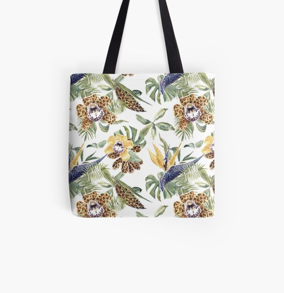 Jungle Animal Print Orchids All Over Print Tote Bag