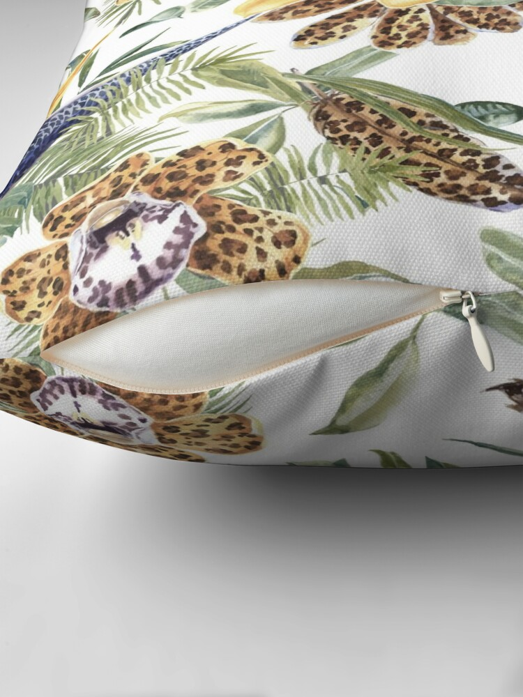 Alternate view of Jungle Animal Print Orchids Throw Pillow