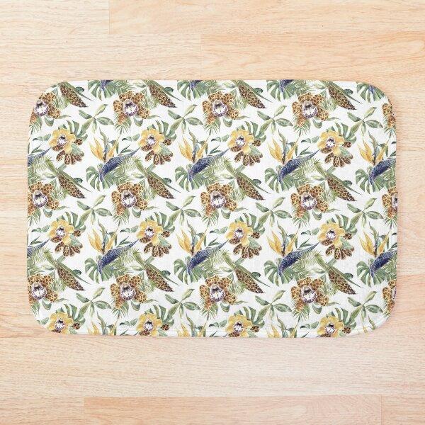 Jungle Animal Print Orchids Bath Mat