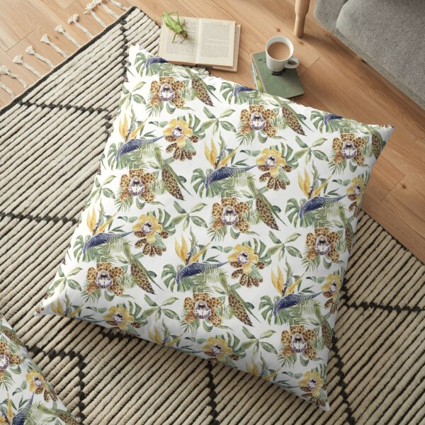 Jungle Animal Print Orchids Floor Pillow