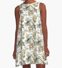 Jungle Animal Print Orchids A-Line Dress