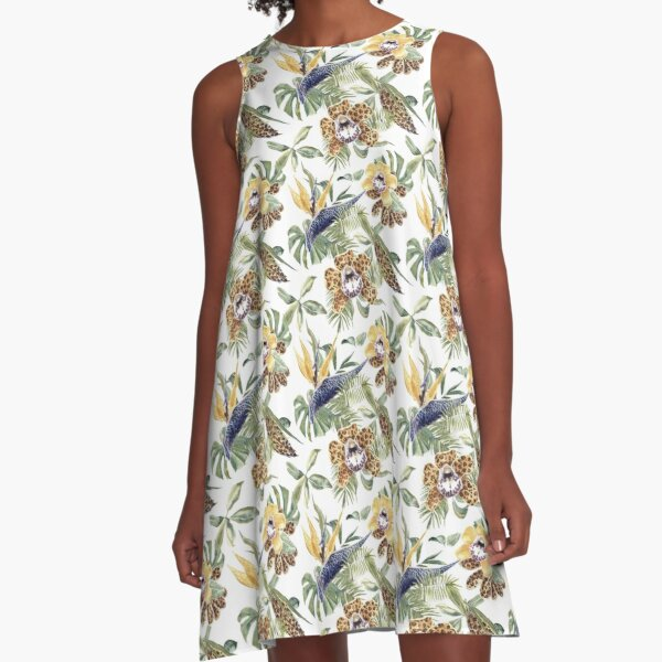 Jungle Animal Print Orchids A-Line Dress