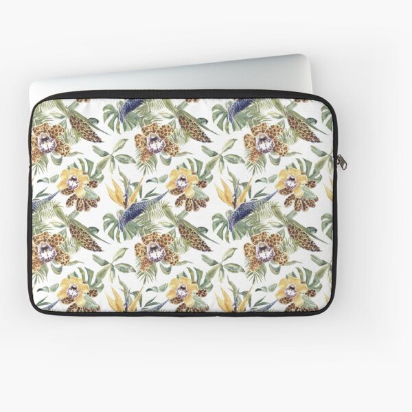 Jungle Animal Print Orchids Laptop Sleeve