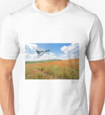 Avro Vulcan B2 bomber over a field of red poppies Unisex T-Shirt