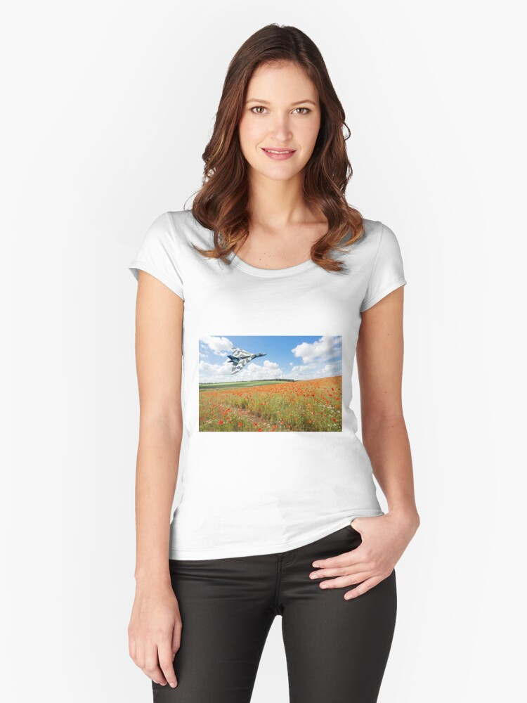 Avro Vulcan B2 bomber over a field of red poppies Women's Fitted Scoop T-Shirt Front